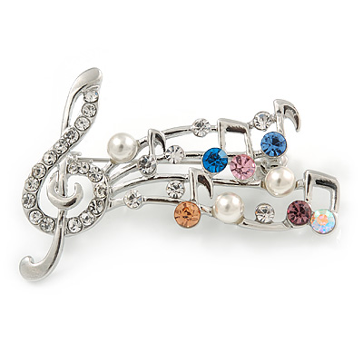 Silver Plated Multicoloured Crystal Musical Notes Brooch - 50mm L