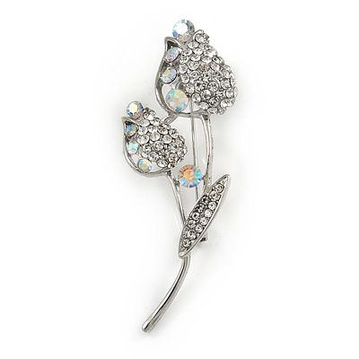Two Tulip Clear Crystal Floral Brooch In Silver Tone Metal - 60mm L