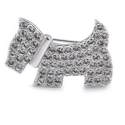 Little Doggy Crystal Brooch In Rhoduim Plated Metal - 30mm