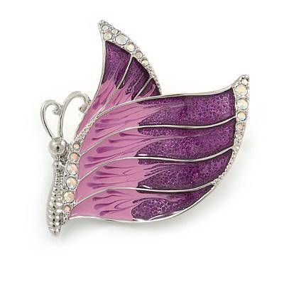 Pink/ Purple Enamel AB crystal Butterfly Brooch In Rhodium Plated Metal - 45mm - main view