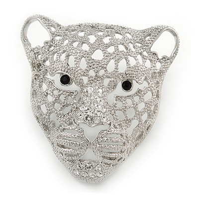 Statement Silver Plated, Crystal, Textured Cheetah Head Brooch - 45mm L