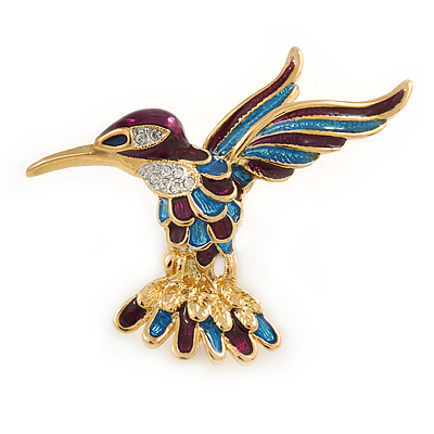 Small Enamel, Crystal Hummingbird Brooch In Gold Plated Metal (Purple, Teal) - 45mm W - main view