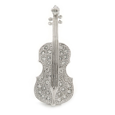 Clear Crystal Violin Brooch In Rhodium Plated Metal - 50mm L