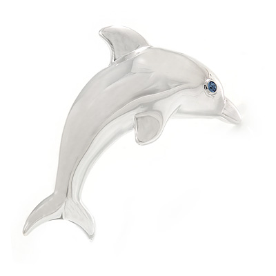 Polished Rhodium Plated Dolphin Brooch - 45mm L