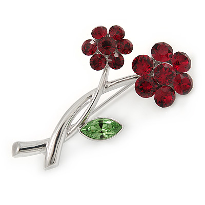 Two Cranberry/ Green Crystal Daisy Flowers Brooch In Rhodium Plating - 47mm L