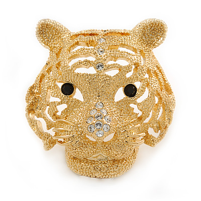 Statement Gold Plated, Crystal, Textured Tiger Head Brooch - 40mm L