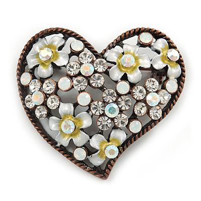 Vintage Inspired Clear Crystal, White Enamel Floral Heart Brooch In Bronze Tone Metal - 42mm W