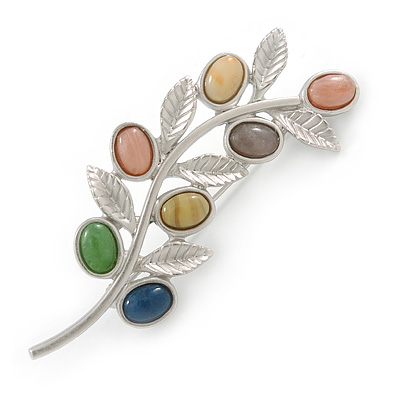 Fancy Floral Brooch with Multicoloured Ceramic Stones In Matte Light Silver Tone - 65mm L