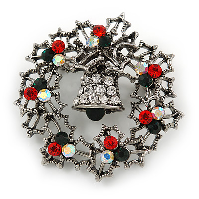 Vintage Inspired Red/Green/ AB Crystal Christmas Holly Wreath Brooch In Antique Silver Tone - 40mm D