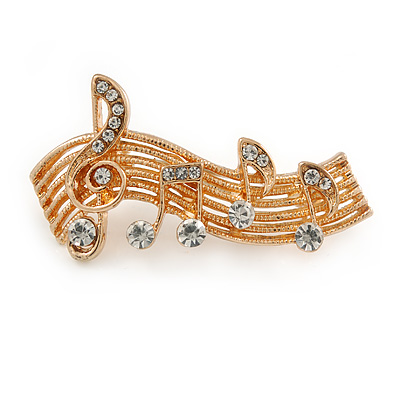 Clear Crystal Musical Notes Brooch In Gold Tone Metal - 42mm