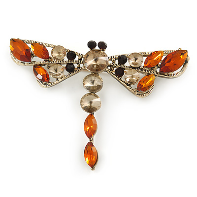 Vintage Inspired Amber/ Grey Crystal Dragonfly Brooch/ Pendant In Antique Gold Tone - 75mm - main view
