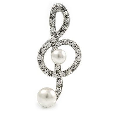 Silver Plated Diamante Faux Pearl Treble Clef Brooch - 50mm L
