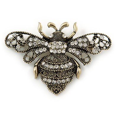 Vintage Inspired Crystal Bumble Bee Brooch In Aged Gold Tone - 60mm