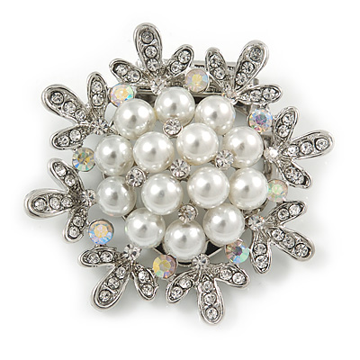 Silver Tone Clear Crystal, Faux Pearl Snowflake Scarf Pin - 45mm D