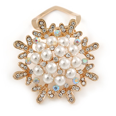 Gold Tone Clear Crystal, Faux Pearl Snowflake Scarf Pin - 45mm D