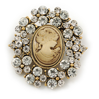 Vintage Inspired Clear Crystal Cameo Brooch In Aged Gold Tone Metal - 50mm L - main view