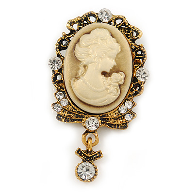 Diamante Cameo Scarf Pin In Aged Gold Tone - 60mm L - main view