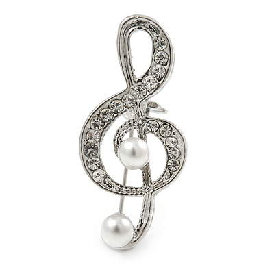 Small Crystal, Faux Pearl Treble Clef Musical Brooch In Silver Tone - 35mm L