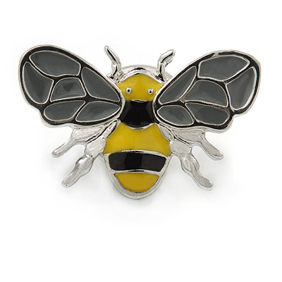 Small Rhodium Plated Grey/ Yellow Enamel Bee Pin Brooch - 23mm W