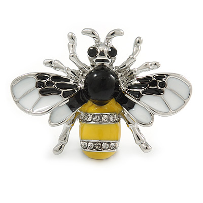 Small Yellow/ White/ Black Enamel, Crysal Bee Brooch In Rhodium Plating - 35mm Across