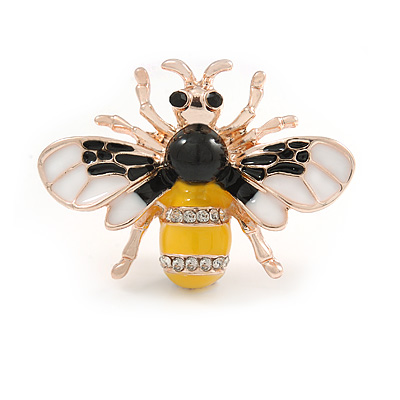 Small Yellow/ Black/ White Enamel Crysal Bee Brooch In Rose Gold Tone - 35mm W