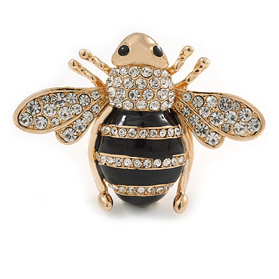 Large Gold Plated Clear Crystal with Black Enamel Bee Brooch - 55mm W