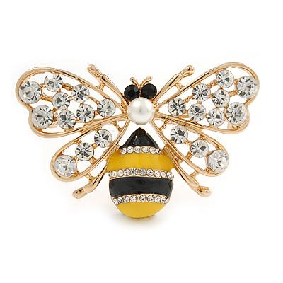 Crystal Yellow/ Black Enamel Bee Brooch In Gold Tone - 55mm Wide