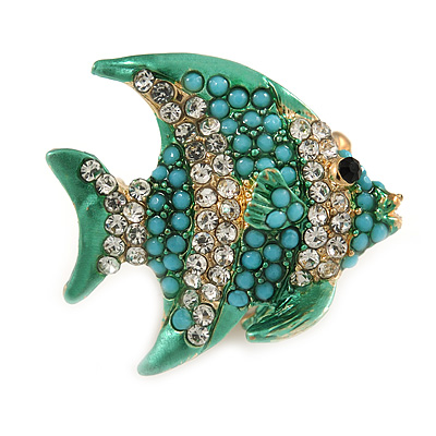 Small Funky Teal Bead, Clear Crystal Fish Brooch In Gold Tone Metal - 25mm Across