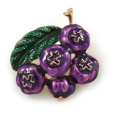 Funky Green/ Purple Enamel Blueberry Brooch In Gold Tone Metal - 40mm Across