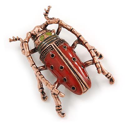 Vintage Inspired Red Enamel Bug Brooch In Bronze Tone Metal - 50mm Tall