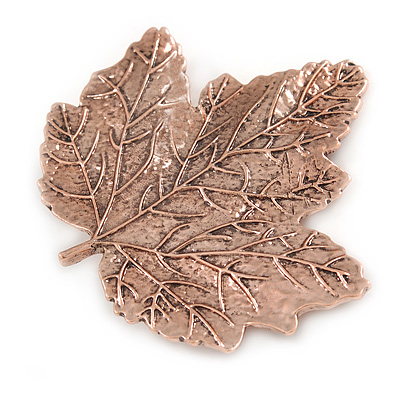Large Copper Tone Maple Leaf Brooch - 70mm L