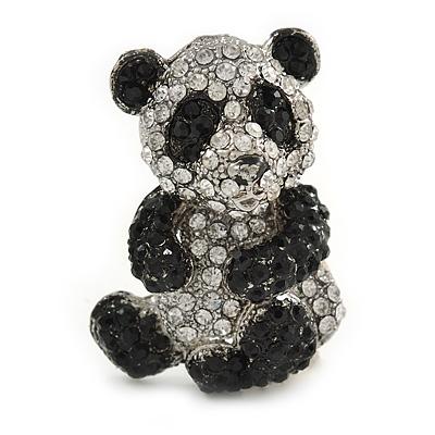 Black/ Clear Crystal Panda Bear Brooch In Silver Tone Metal - 40mm Tall