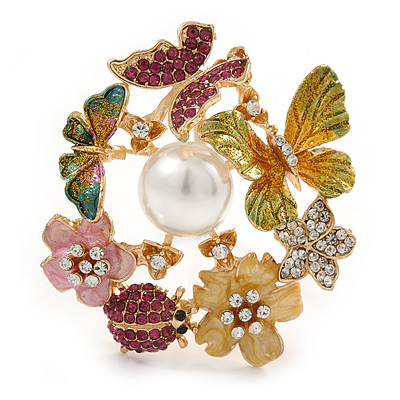 Multicoloured Crystal, Enamel Flower, Ladybug, Butterfly Wreath Brooch/ Pendant In Gold Tone Metal - 50mm Tall