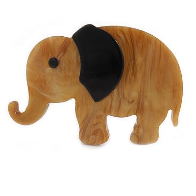 Honey Brown/ Black Acrylic Elephant Brooch - 65mm Across