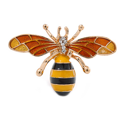 Small Funky Yellow/ Black/ Orange Bee Brooch In Gold Tone - 35mm Wide - main view