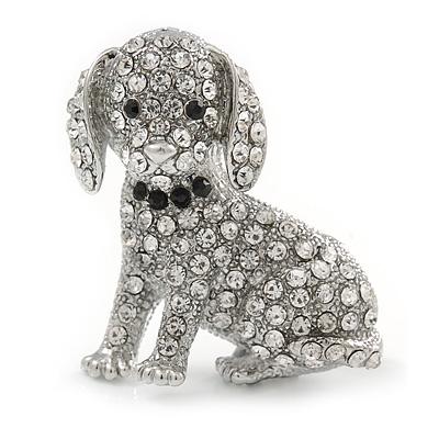 Crystal Puppy Dog Brooch In Silver Tone - 37mm Tall