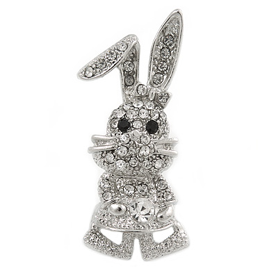 Silver Tone, Crystal Dancing Bunny Brooch - 45mm Tall