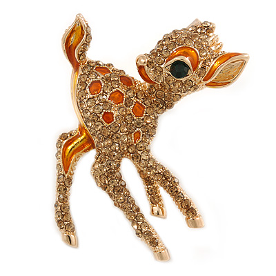 Cute Crystal Baby Fawn/ Young Deer Brooch In Gold Tone Metal - 48mm Tall