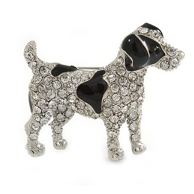 Clear Crystal with Black Enamel Spots Jack Russell Terrier Dog Brooch In Silver Tone Metal - 40mm Across