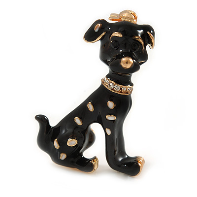 Gold Tone Black/ White Enamel Dalmatian Puppy Dog Brooch - 40mm Tall - main view