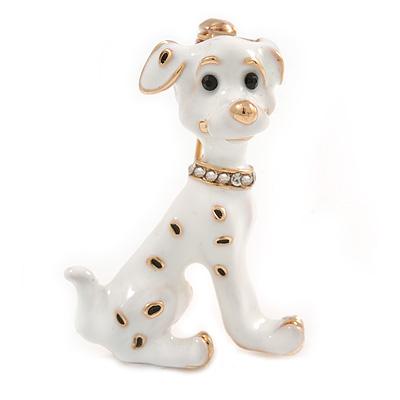 Gold Tone White/ Black Enamel Dalmatian Puppy Dog Brooch - 40mm Tall