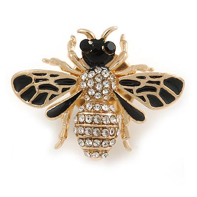 Small Black Enamel, Clear Crystal Bee Brooch In Gold Tone Metal - 28mm Across