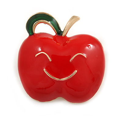 Red/ Green Enamel Smiling Apple Brooch In Gold Tone - 30mm Across
