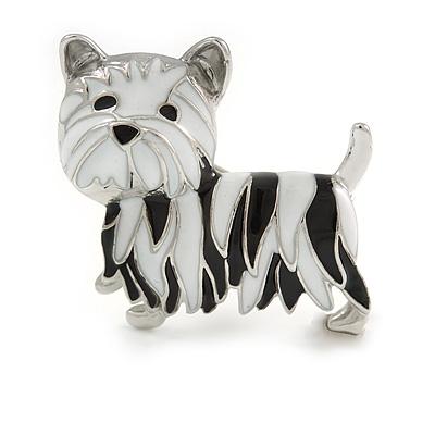 Black/ White Enamel Yorkie Dog Brooch In Sivler Tone Metal - 35mm Across - main view