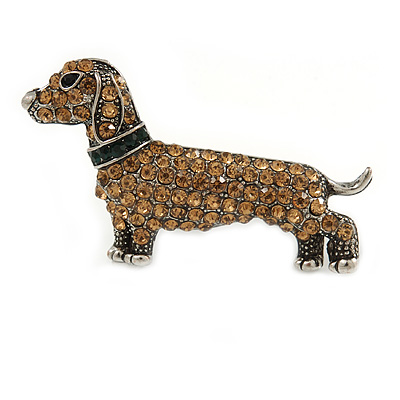 Citrine Crystal Dachshund Dog In Pewter Tone Metal - 45mm Across