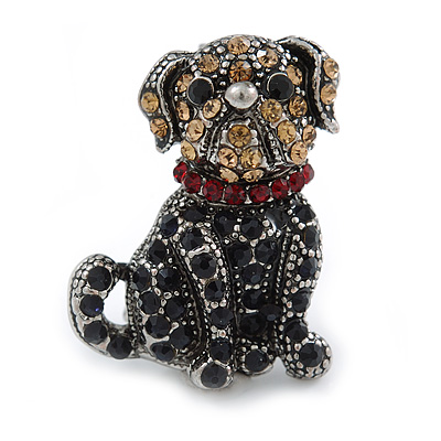 Small Crystal Bulldog Puppy Dog Brooch In Pewter Tone Metal - 30mm Tall