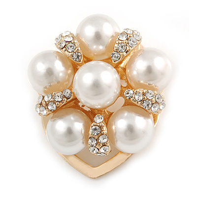 Diamante Faux Pearl Flower Scarf Pin/ Brooch In Gold Tone - 30mm D