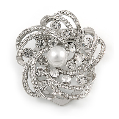 Diamante Faux Pearl Flower Scarf Pin/ Brooch In Silver Tone - 35mm D - main view