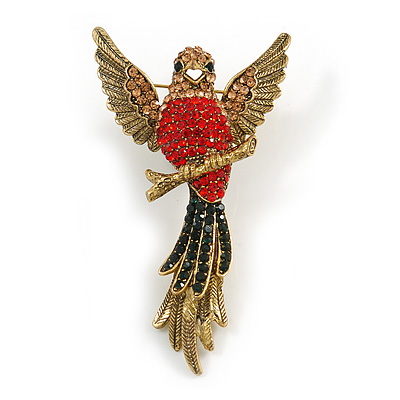 Vintage Inspired Exotic Crystal Bird Brooch In Aged Gold Tone Metal - 70mm Tall