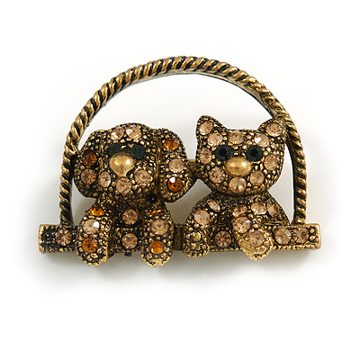 Vintage Inspired Sweet Crystal Cat & Dog Brooch In Bronze Tone Metal - 35mm Across